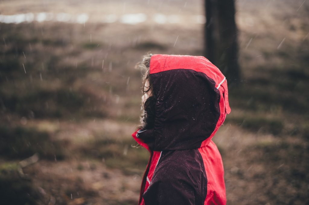 An image of a Child in a Waterproof Coat in the Rain