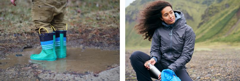 Child Jumping in Puddle in Wellies and Woman Wearing Waterproof Jacket on Walk