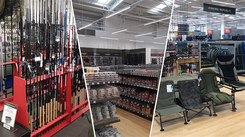 A selection of stock in a Fishing Republic department in a GO Outdoors store.